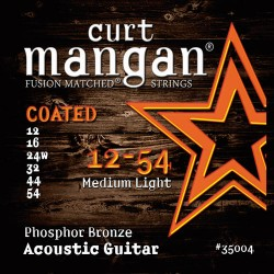 Curt Mangan 12-54 PhosPhor Bronze Medium Light Bevonatos Akusztikus Gitár Húr Szett