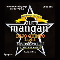 Curt Mangan Stainless Steel Loop End Quinto Light Bajo Húr Szett